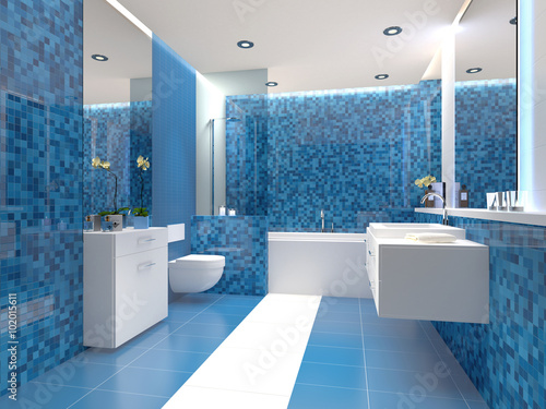 Badezimmer Trend Blau Weiß Weiss Modern