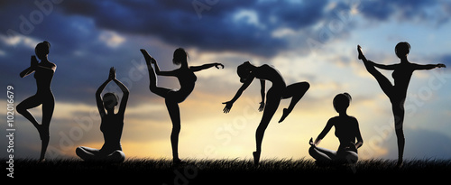 Photo Donne silhouette fitness allenamento yoga