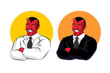 Devil In Business Suit. Red Demon In White Jacket. Satan With Ho