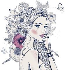 Fototapeta Do sypialni young beautiful woman wirh flowers