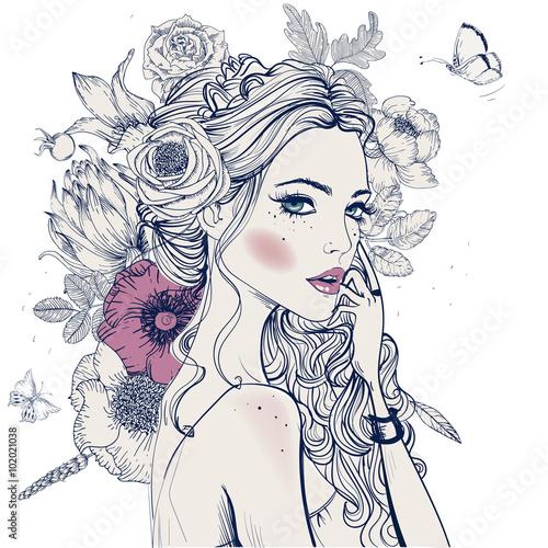 Plakaty do kosmetyczki  young-beautiful-woman-wirh-flowers