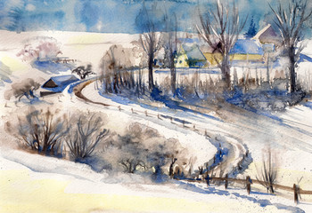 Obraz Winter landscape with road to village.Picture created with watercolors.
