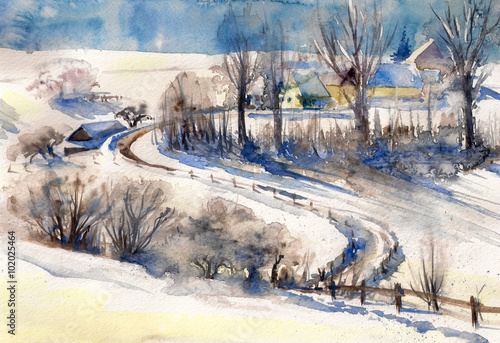 Winter landscape with road to village.Picture created with watercolors. - 102025464