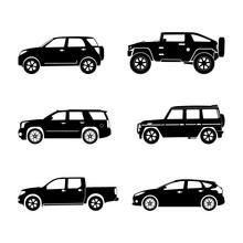 Black Silhouette Cars On White...