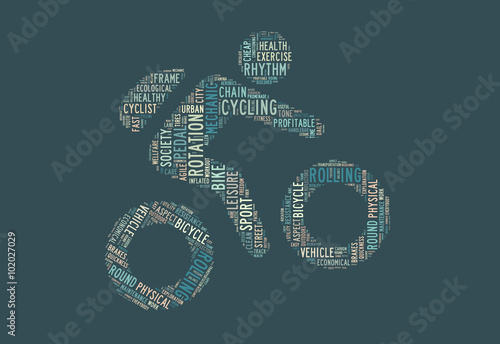 Fotografie, Obraz  ciclismo saludable nube de términos
