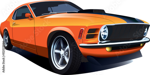 Tuinposter Cartoon cars Orange 70s american customized muscle car. Vector EPS10 isolated, separated layers, quick repaint.