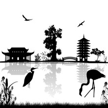 Beautiful Asian Landscape Near Water On White Background, Vector Illustration