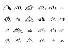 Hand Drawn Ink Mountain Elements Collection.