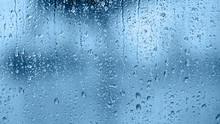 Raindrops On The Window. Blue ...