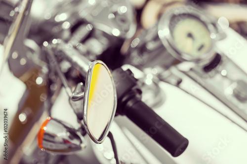 Fototapeta Motorcycle detail with mirror, speedometer and handlebar