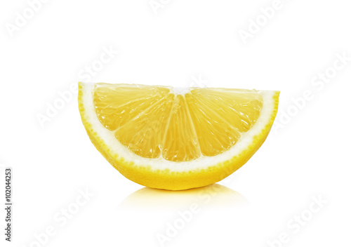 Stampe Sliced of lemon isolated on the white background