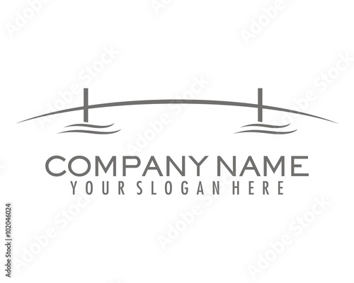 Leinwand Poster gray bridge silhouette logo vector