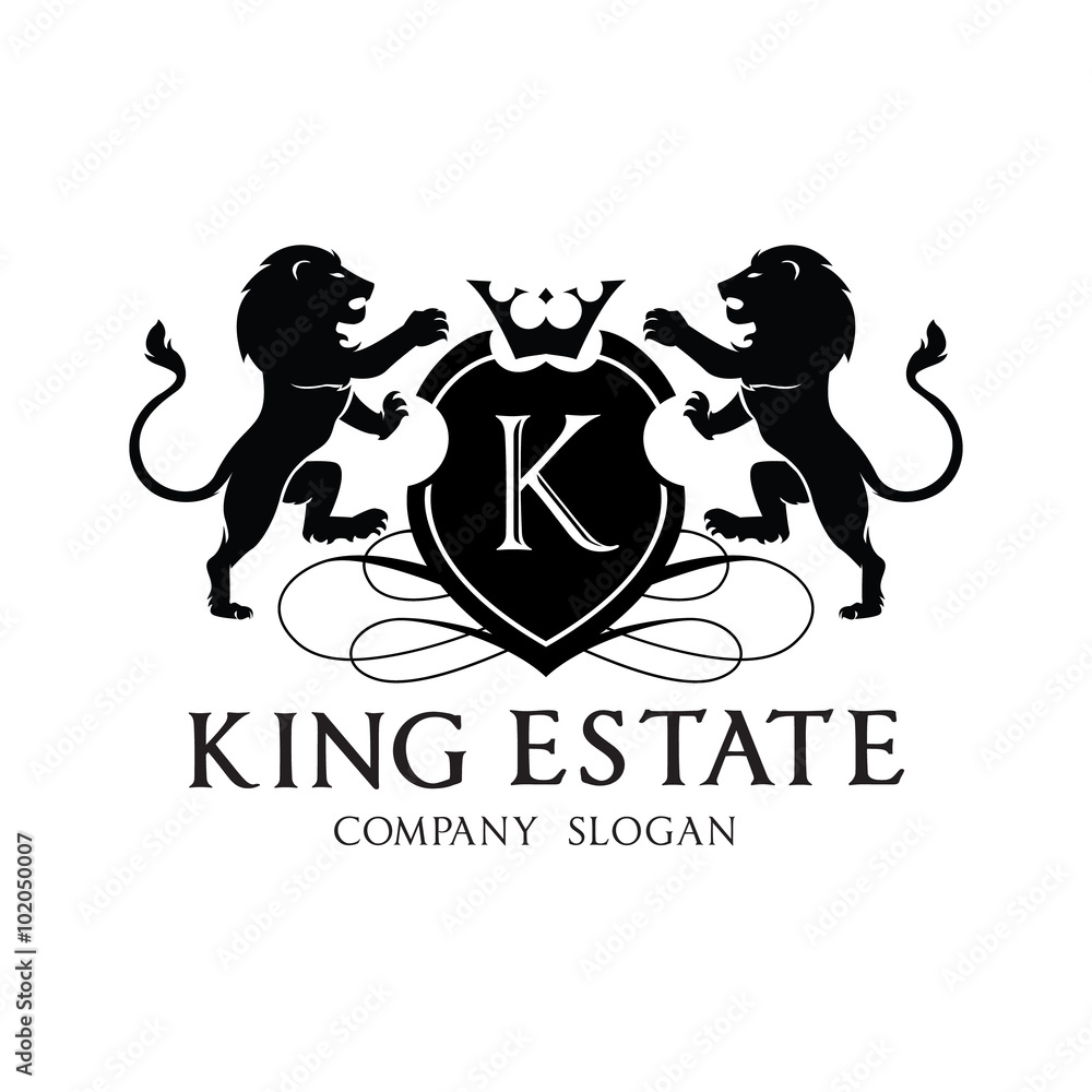 Photo Art Print King Lion Crest Logo Design For Hotel And Real