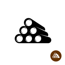 Stack Of Pipes Black Silhouette 3d Perspective Icon
