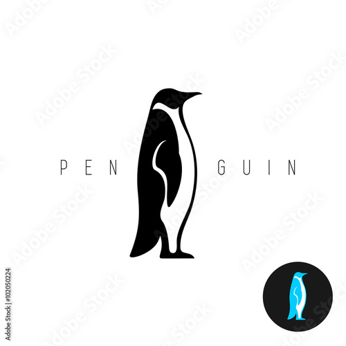 Fotografie, Obraz  Penguin black silhouette vector logo. Side view of a standing pe