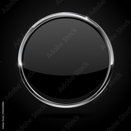 Fotografía  Black button with metal chrome frame.
