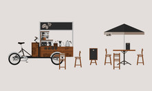 Editable Detailed Outdoor Bicycle Coffee Stand Vector Illustration With Table, Chairs, Menu Display, And Brewing Equipment For Mobile Shop Concept