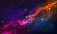 Colorful Nebula In Space. Vect...