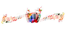 Colorful Accordion Design With Butterflies