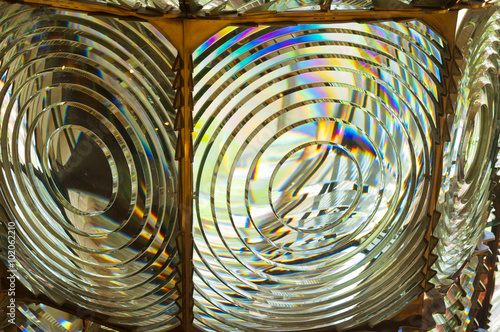 Obraz na plátně  fresnel lens of lighthouse beacon as abstract background