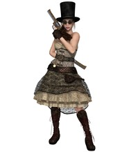 Steampunk Woman With Stovepipe...