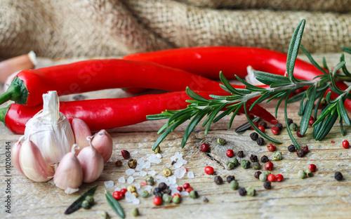 przyprawy-i-przyprawy-sol-rozmaryn-czosnek-rozowy-i-czarny-pieprz-chili