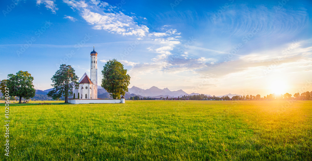 Fototapety, obrazy: St. Coloman Church at sunset, Bavaria, Germany