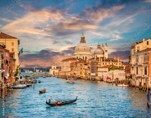 plakat Canal Grande with Santa Maria Della Salute at sunset, Venice, Italy