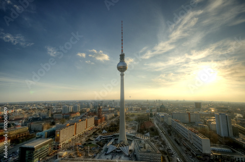 Poster Berlin panoramic view over Germanys capital Berlin in the evening from the roof of the Hotel Park Inn Berlin