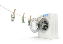 Concept Of Money Laundering, Money Hanging On A Rope Coming Out
