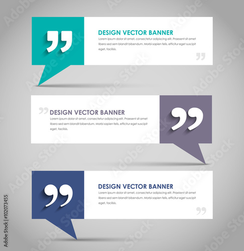 Fotografia Set of banners with a quote bubble