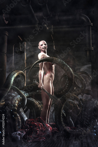 Photo fantasy killer evil girl and tentacles monster