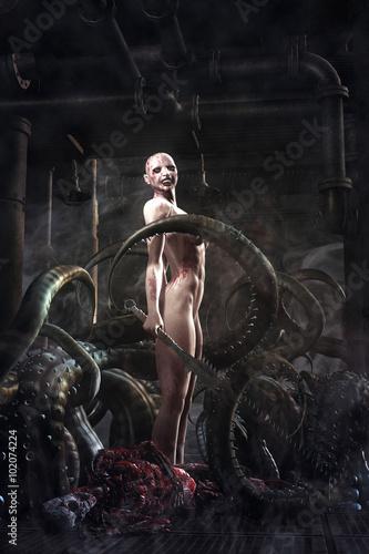 Платно fantasy killer evil girl and tentacles monster