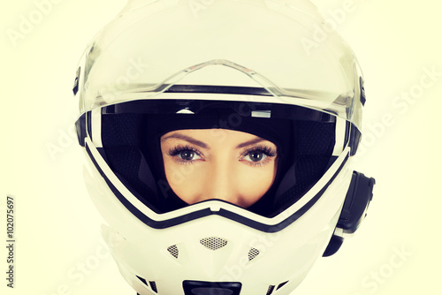 Photo Stands Fairies and elves Sexy woman with motorcycle helmet.