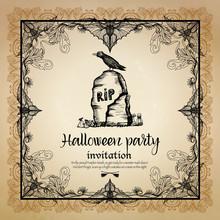 Halloween Vintage Invitation W...