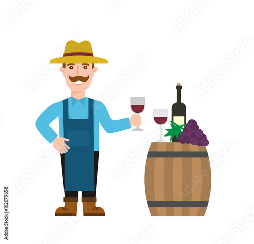 Fotografía  winemaker with wine glass wooden wine barrel wine bottle grapes bunch isolated o