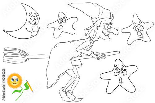Fotografía  Coloring book witch flying on broom