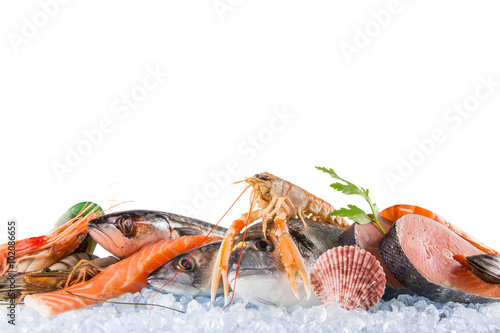 Photo  Fresh seafood on crushed ice.
