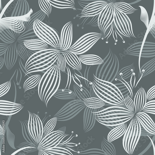 fototapeta na lodówkę Grey Ornamental Flowers Seamless Pattern