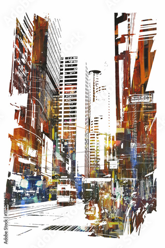abstrakcjonistyczna-sztuka-pejzaz-miejski-ilustracja