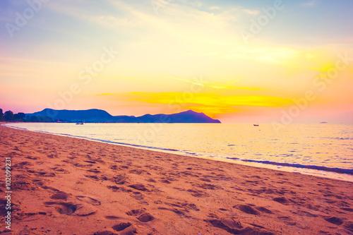 Poster Jaune Tropical beach and sea