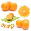 Set of images of orange on a white background