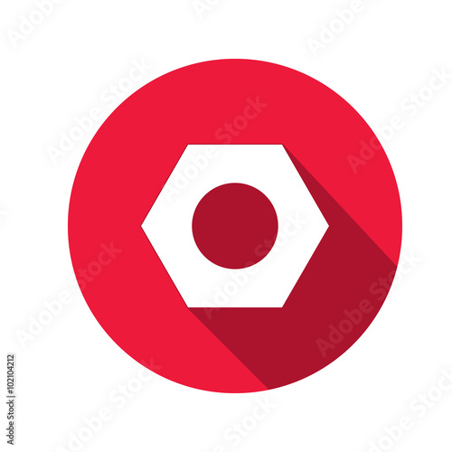 Bolt nut icon. Screw symbol. White sign on round red button with long shadow. Vector