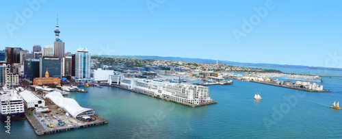 Aerial view of  Auckland financial center against the Waitemata Wallpaper Mural