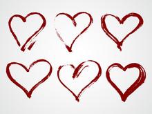 Vector Set Of Grunge Frames In The Shape Of Heart.