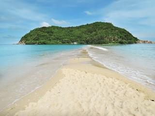 Summer seascape on tropical island Koh Phangan in Thailand. Mae