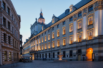 University of Wrocław in Poland at Dusk
