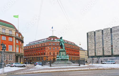 Danske bank Old Building and Niels Juel monument in Copenhagen Canvas Print
