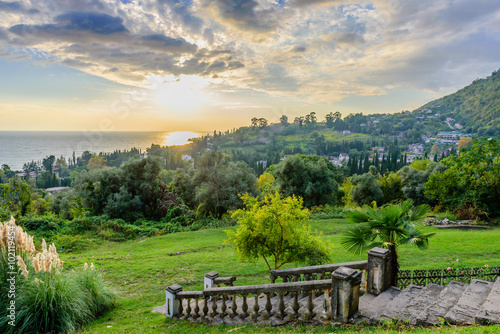 Picturesque summer landscape at sunset, New Athos, Abkhazia. Canvas Print