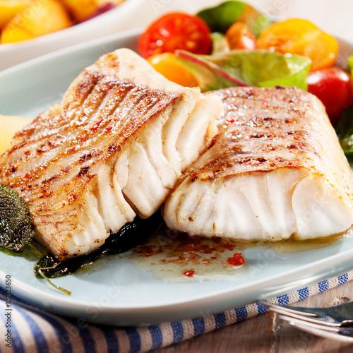 Canvas Prints Fish Fillets of savory marinated pollock